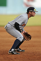 Charleston RiverDogs third baseman Dante Bichette Jr. #19 prepares for a play during a game against the Asheville Tourists at McCormick Field on May 28, 2012 in Asheville, North Carolina . The Tourists defeated the RiverDogs 15-12. (Tony Farlow/Four Seam Images).
