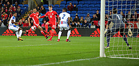 Ben Woodburn of Wales (22) crosses the ball during the international friendly soccer match between Wales and Panama at Cardiff City Stadium, Cardiff, Wales, UK. Tuesday 14 November 2017.