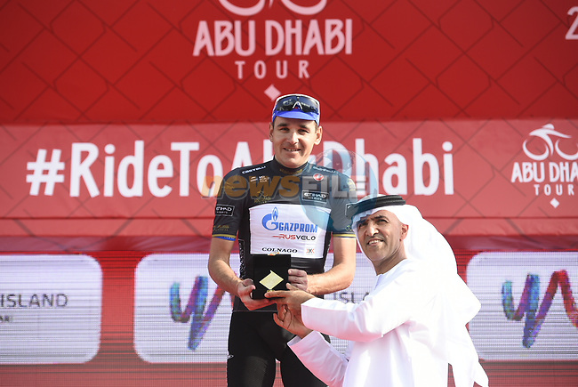 Nikolay Trusov (RUS) Gazprom-Rusvelo retains the intermediate sprints Black Jersey at the end of Stage 2 of the 2018 Abu Dhabi Tour, Yas Island Stage running 154km from Yas Mall to Yas Beach, Abu Dhabi, United Arab Emirates. 22nd February 2018.<br /> Picture: LaPresse/Fabio Ferrari | Cyclefile<br /> <br /> <br /> All photos usage must carry mandatory copyright credit (© Cyclefile | LaPresse/Fabio Ferrari)
