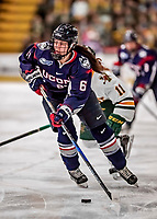 9 February 2018: University of Connecticut Huskie Forward Briana Colangelo, a Sophomore from Whitby, Ontario, in first period action against the University of Vermont Catamounts at Gutterson Fieldhouse in Burlington, Vermont. The Lady Cats defeated the Huskies 1-0 the first game of their weekend Hockey East series. Mandatory Credit: Ed Wolfstein Photo *** RAW (NEF) Image File Available ***