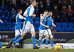 St Johnstone v Kilmarnock…02.12.17…  McDiarmid Park…  SPFL<br />Steven MacLean celebrates his goal wioth Graham Cummins<br />Picture by Graeme Hart. <br />Copyright Perthshire Picture Agency<br />Tel: 01738 623350  Mobile: 07990 594431