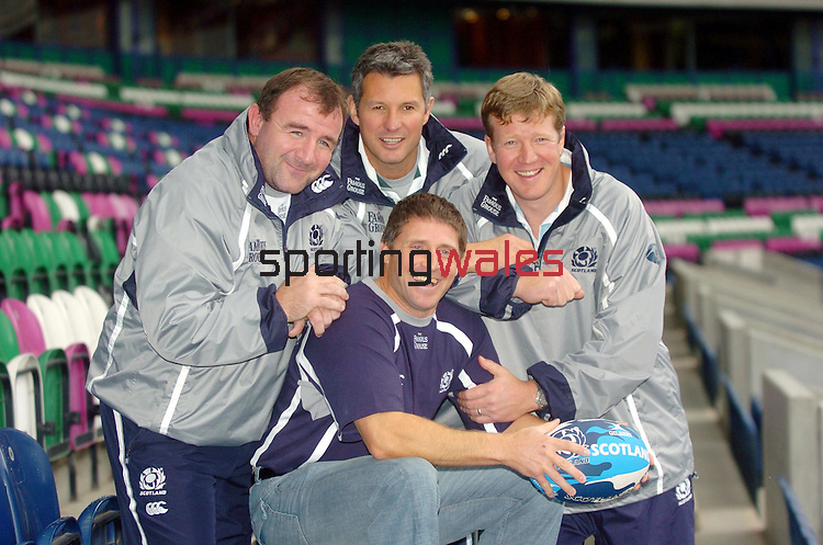 CAPTION: SCOTLAND'S ASSISTANT (L TO R) COACHES  GEORGE GRAHAM SEAN LINEEN, SHADE MUNRO AND ALAN TAIT (front).SCOTLAND RUGBY UNION PRESS CONFERENCE, MURRAYFIELD STADIUM, TUESDAY11TH  OCTOBER 2005.COPYRIGHT: FOTOSPORT/DAVID GIBSON, MILLSTONE BROW, BY CARNWATH, LANARKSHIRE, ML11 8LJ, SCOTLAND, UK TEL: 01501 785 060 MOBILE: 07774 444 787