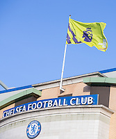 General view of the Stadium - Premier League Flag flies above Chelsea Football Club during the English Premier League match between Chelsea and Bournemouth at Stamford Bridge, London, England on 26 December 2016. Photo by Andy Rowland.