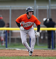 Norfolk Tides pinch runner Steve Tolleson #8 leads off first during a game against the Empire State Yankees at Dwyer Stadium on April 22, 2012 in Batavia, New York.  Empire State defeated Norfolk 6-5, the Yankees are playing all their games on the road this season as their stadium gets renovated.  (Mike Janes/Four Seam Images)