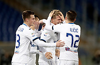 Calcio, Serie A: AS Roma - Atalanta, Roma, stadio Olimpico, 6 gennaio 2018.<br /> Atalanta's Andreas Cornelius celebrates after scoring with his teammates during the Italian Serie A football match between AS Roma and Atalanta at Rome's Olympic stadium, January 6 2018.<br /> UPDATE IMAGES PRESS/Isabella Bonotto