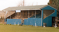 The main stand at Brantham Athletic FC, Brantham Athletic & Social Club, New Village, Brantham, Suffolk, pictured circa 1985
