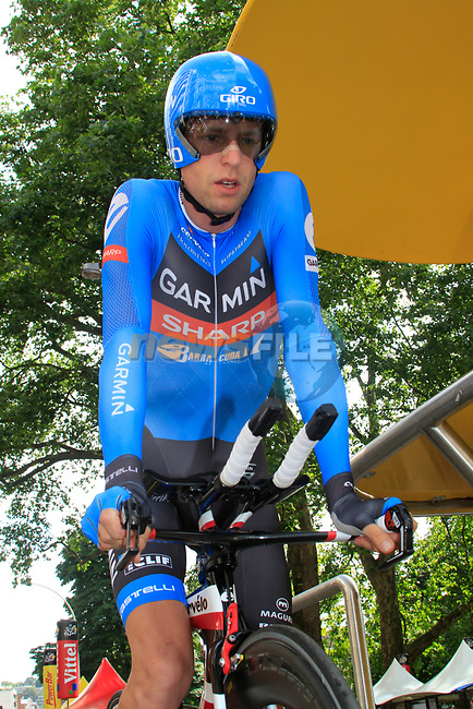 Ryder Hesjedal (CAN) Garmin Barracuda on the start ramp of the Prologue of the 99th edition of the Tour de France 2012, a 6.4km individual time trial starting in Parc d'Avroy, Liege, Belgium. 30th June 2012.<br /> (Photo by Eoin Clarke/NEWSFILE)
