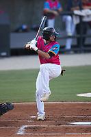Ethan Murray (3) of the Pescados de Carolina at bat against the Delmarva Shorebirds at Five County Stadium on September 4, 2021 in Zebulon, North Carolina. (Brian Westerholt/Four Seam Images)