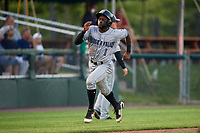 Hudson Valley Renegades left fielder Bryce Brown (1) runs home during a game against the Auburn Doubledays on September 5, 2018 at Falcon Park in Auburn, New York.  Hudson Valley defeated Auburn 11-5.  (Mike Janes/Four Seam Images)