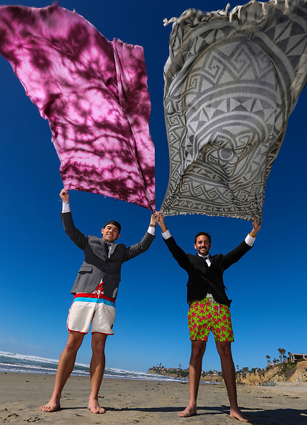 Feb. 1, 2015. Pacific Beach, CA. USA.| Partners Brandon Leibel, right, and Steve Ford creators of Sand Cloud Towels.|Photos by Jamie Scott Lytle. Copyright.