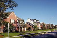 Suburb; homes; quiet street; middle America. Houston Texas.