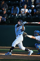 Adam Pate (2) of the North Carolina Tar Heels bats against the UCLA Bruins at Jackie Robinson Stadium on February 20, 2016 in Los Angeles, California. UCLA defeated North Carolina, 6-5. (Larry Goren/Four Seam Images)