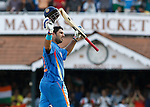 CHENNAI, INDIA - MARCH 20:  Yuvraj Singh of India acknowledges his century  batting during the Group B ICC World Cup match between India and West Indies at M. A. Chidambaram Stadium on March 20, 2011 in Chennai, India.  (Photo by Graham Crouch/Getty Images) *** Local Caption *** Yuvraj Singh