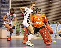 Cecile Pieper, goalkeeper Rosa Krueger<br /> / Sport / Hockey Hnhockey / World Championships Weltmeisterschaft Damen /  2017/2018 / 07.02.2018 / GER BRGermany vs. Russland  *** Local Caption *** © pixathlon<br /> Contact: +49-40-22 63 02 60 , info@pixathlon.de