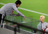 LOS ANGELES, CA - SEPTEMBER 02: Head coach Bob Bradley and assistant Ante Jazic exchange a few words during a game between San Jose Earthquakes and Los Angeles FC at Banc of California stadium on September 02, 2020 in Los Angeles, California.