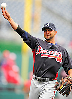 31 March 2011: Atlanta Braves shortstop Alex Gonzalez warms up prior to the Opening Day festivities and game against the Washington Nationals at Nationals Park in Washington, District of Columbia. The Braves shut out the Nationals 2-0 to open the 2011 Major League Baseball season. Mandatory Credit: Ed Wolfstein Photo