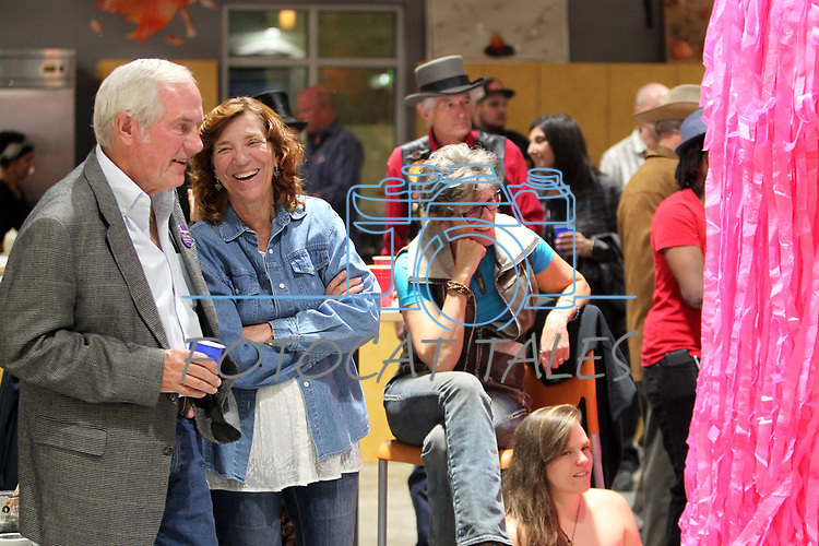 Guest greet each other as dozens of artists from around the state of Nevada performed or demonstrating their crafts at the annual Capital Collage in Carson City, Nev., on Friday, October 27, 2017.