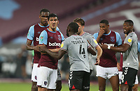West Ham United's Issa Diop and Fabian Balbuena are tightly marked for a corner<br /> <br /> Photographer Rob Newell/CameraSport<br /> <br /> Carabao Cup Second Round Northern Section - West Ham United v Charlton Athletic - Tuesday 15th September 2020 - London Stadium - London <br />  <br /> World Copyright © 2020 CameraSport. All rights reserved. 43 Linden Ave. Countesthorpe. Leicester. England. LE8 5PG - Tel: +44 (0) 116 277 4147 - admin@camerasport.com - www.camerasport.com