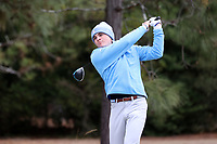 PINEHURST, NC - MARCH 02: Austin Greaser of the University of North Carolina tees off on the fifth hole at Pinehurst No. 2 on March 02, 2021 in Pinehurst, North Carolina.