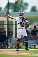 GCL Pirates catcher Paul Brands (25) throws to first during a game against the GCL Yankees East on August 15, 2016 at the Pirate City in Bradenton, Florida.  GCL Pirates defeated GCL Yankees East 5-2.  (Mike Janes/Four Seam Images)