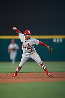 Palm Beach Cardinals shortstop Rayder Ascanio (3) throws to first base during a Florida State League game against the Lakeland Flying Tigers on April 17, 2019 at Publix Field at Joker Marchant Stadium in Lakeland, Florida.  Lakeland defeated Palm Beach 1-0.  (Mike Janes/Four Seam Images)