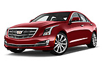 Low aggressive front three quarter view of 2015 Cadillac ATS 2.5L Standard RWD 4 Door Sedan Stock Photo