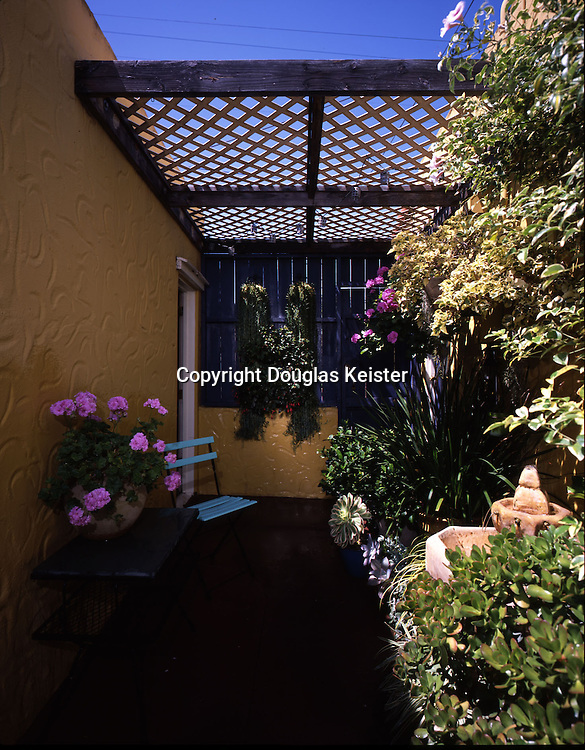 """The tidy 7- by 30-foot courtyard in this 1927 Spanish-style bungalow in San Diego is sandwiched between the house and a former garage that has been converted into an artist's studio. The courtyard, was designed by the current owner after acquiring the property in 1998. Truly an """"econo-court,"""" this courtyard shows that one need not spend a lot of money to achieve an excellent effect. The courtyard has all the elements of a residence courtyard (four walls, a water element, and a seating area) in condensed form. A mission-style concrete fountain provides the requisite water element. Plants, all in containers on the concrete patio, are variegated yucca and impatiens (in the left foreground) ivy pelargonium (on a table in back of the yucca),  Fishhook Senecio (the two long hanging plants on the far wall with the door,) and fuchsia. On the back right side of the courtyard are pelargonium, impatiens, aeonium, fortnight lily and gardenia. Bougainvillea and variegated bower vine are in the front.<br /><br />San Diego Courtyard"""