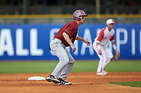 Jake Palomaki (11) of the Boston College Eagles takes his lead off of second base against the North Carolina State Wolfpack in Game Two of the 2017 ACC Baseball Championship at Louisville Slugger Field on May 23, 2017 in Louisville, Kentucky. The Wolfpack defeated the Eagles 6-1. (Brian Westerholt/Four Seam Images)