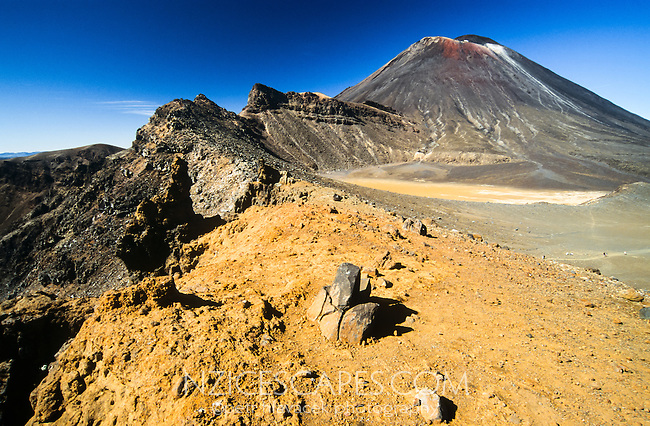 Tongariro Crossing Track among living volcanes. Mt. Ngauruhoe (2291m) dominates the frame - Tongariro National Park, Central Plateau, New Zealand