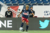 FOXBOROUGH, MA - AUGUST 26: Ryo Shimazaki #31 of New England Revolution II passes the ball during a game between Greenville Triumph SC and New England Revolution II at Gillette Stadium on August 26, 2020 in Foxborough, Massachusetts.