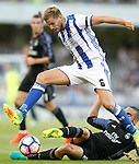 Real Sociedad's Inigo Martinez (t) and Real Madrid's Daniel Carvajal during La Liga match. August 21,2016. (ALTERPHOTOS/Acero)