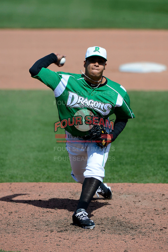 Dayton Dragons pitcher Alejandro Chacin #10 during a game against the Bowling Green Hot Rods on April 21, 2013 at Fifth Third Field in Dayton, Ohio.  Bowling Green defeated Dayton 7-5.  (Mike Janes/Four Seam Images)