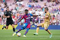 26th September 2021;   Nou Camp, Barcelona, Spain: La Liga football, FC Barcelona versus Levante: Ansu Fati Barcelona with his shot for his goal in 91st minute for 3-0