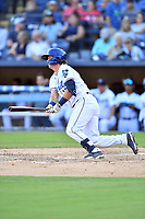 Asheville Tourists Alex Holderbach (14) swings at a pitch during a game against the Aberdeen IronBirds on June 15, 2021 at McCormick Field in Asheville, NC. (Tony Farlow/Four Seam Images)