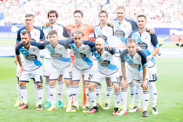 Deportivo de la Coruña's players during a match of La Liga Santander at Vicente Calderon Stadium in Madrid. September 25, Spain. 2016. (ALTERPHOTOS/BorjaB.Hojas)