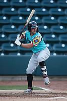 Blaine Crim (9) of the Llamas de Hickory at bat against the Winston-Salem Rayados at Truist Stadium on July 6, 2021 in Winston-Salem, North Carolina. (Brian Westerholt/Four Seam Images)