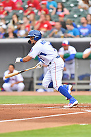 Tennessee Smokies shortstop Vimael Machin (1) swings at a pitch during a game against the Birmingham Barons at Smokies Stadium on May 15, 2019 in Kodak, Tennessee. The Smokies defeated the Barons 7-3. (Tony Farlow/Four Seam Images)