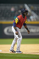 Daz Cameron (10) of the Toledo Mud Hens takes his lead off of third base against the Charlotte Knights at BB&T BallPark on April 23, 2019 in Charlotte, North Carolina. The Knights defeated the Mud Hens 11-9 in 10 innings. (Brian Westerholt/Four Seam Images)