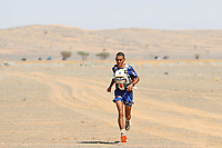 8th October 2021; Boulchrhal to Sud Jebel Irhfelt N'Tissalt ;  Marathon des Sables, stage 5 and final stage of  a six-day, 251 km ultramarathon, which is approximately the distance of six regular marathons. The longest single stage is 91 km long. This multiday race is held every year in southern Morocco, in the Sahara Desert. Rachid El Morabity on the final 100 yards of the 35eme Marathon Des Sables