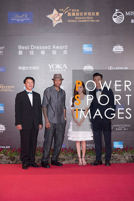 Allen Iverson (hat), Jessica Jung, and Pakho Chau (right) during the Red Carpet event at the World Celebrity Pro-Am 2016 Mission Hills China Golf Tournament on 20 October 2016, in Haikou, China. Photo by Weixiang Lim / Power Sport Images