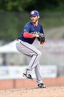 Hagerstown Suns starting pitcher Grant Borne (14) delivers a pitch during a game against the Asheville Tourists at McCormick Field on September 5, 2016 in Asheville, North Carolina. The Suns defeated the Tourists 9-5. (Tony Farlow/Four Seam Images)