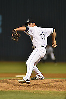 Asheville Tourists pitcher Matt Carasiti #25 delivers a pitch during a game against the Greenville Drive at McCormick Field on May 18, 2014 in Asheville, North Carolina. The Tourists defeated the Drive 10-3. (Tony Farlow/Four Seam Images)