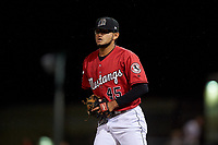 Billings Mustangs relief pitcher Jeffry Nino (45) during a Pioneer League game against the Grand Junction Rockies at Dehler Park on August 15, 2019 in Billings, Montana. Billings defeated Grand Junction 11-2. (Zachary Lucy/Four Seam Images)