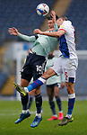 03.10.20 - Blackburn Rovers v Cardiff City - Sky Bet Championship - Kieffer Moore of Cardiff and Daniel Ayala of Blackburn Rovers go for a header