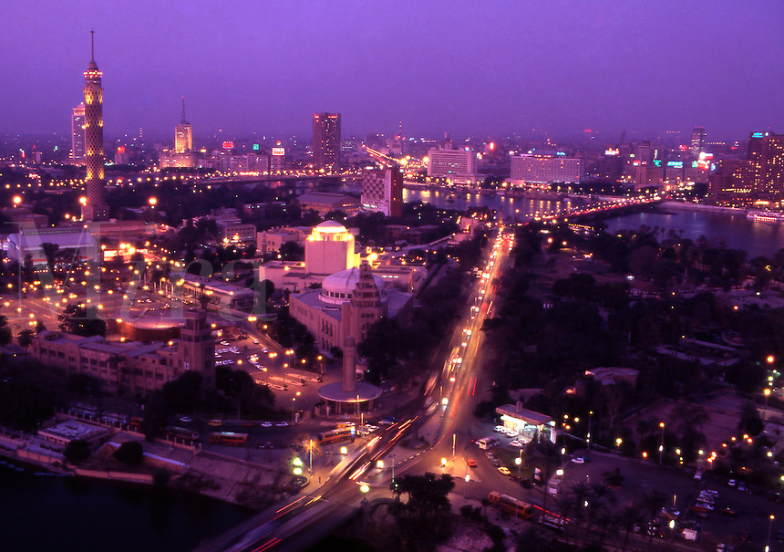 Egypt. Cairo at Dusk, showing the Cairo Tower, New Opera House, and 6th Oct Bridge. Zamalek District.