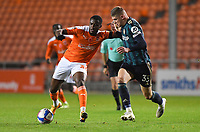 Blackpool's Beryly Lubala battles with Leeds United's Charlie Cresswell<br /> <br /> Photographer Dave Howarth/CameraSport<br /> <br /> EFL Trophy - Northern Section - Group G - Blackpool v Leeds United U21 - Wednesday 11th November 2020 - Bloomfield Road - Blackpool<br />  <br /> World Copyright © 2020 CameraSport. All rights reserved. 43 Linden Ave. Countesthorpe. Leicester. England. LE8 5PG - Tel: +44 (0) 116 277 4147 - admin@camerasport.com - www.camerasport.com