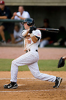 Jonathan Meyer #16 of the Greeneville Astros follows through on his swing versus the Danville Braves at Pioneer Park June 28, 2009 in Greeneville, Tennessee. (Photo by Brian Westerholt / Four Seam Images)
