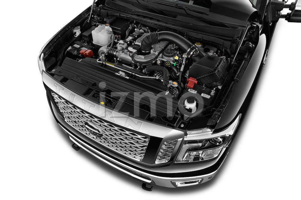 Car Stock 2016 Nissan Titan SL 4 Door Pickup Engine  high angle detail view