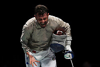 210724 -- TOKYO, July 24, 2021 -- Italy s Luigi Samele celebrates during the men s Sabre Individual table of 32 at Tokyo 2020 Olympic Games, Olympische Spiele, Olympia, OS in Tokyo, July 24, 2021.  TOKYO2020JAPAN-TOKYO-OLY-MEN-FENCING-SABRE INDIVIDUAL LixMing PUBLICATIONxNOTxINxCHN<br /> Photo XINHUA / Imago  / Insidefoto ITALY ONLY