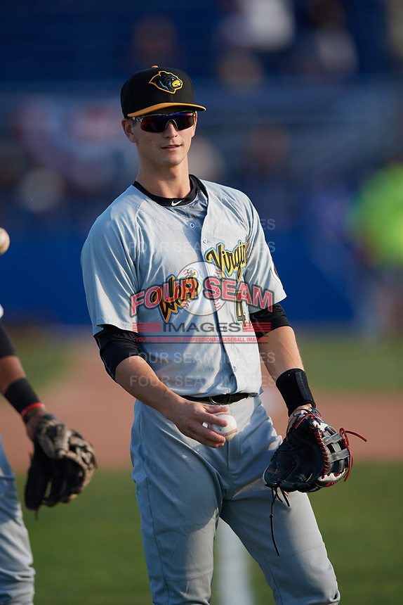 West Virginia Black Bears Jared Oliva (43) during warmups before a game against the Batavia Muckdogs on June 24, 2017 at Dwyer Stadium in Batavia, New York.  The game was suspended in the bottom of the third inning and completed on June 25th with West Virginia defeating Batavia 6-4.  (Mike Janes/Four Seam Images)